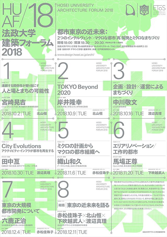 建築フォーラム2018「都市東京の近未来」(新宿区・10/2-)